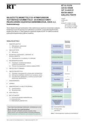 RT 13-11270, Rajoitettu menettely EU-kynnysarvon ylittävissä suunnittelu- ja konsultointipalveluiden julkisissa hankinnoissa, ohje 2.2. Hankintalakisarja