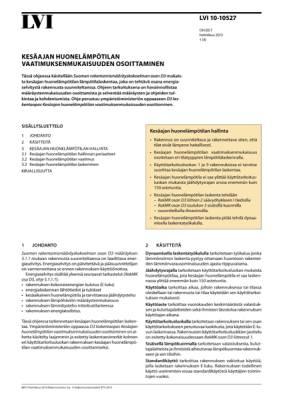 LVI 10-10527, Kesäajan huonelämpötilan vaatimuksenmukaisuuden osoittaminen