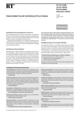 RT 10-11298, Pihasuunnittelun tehtäväluettelo PIHA18