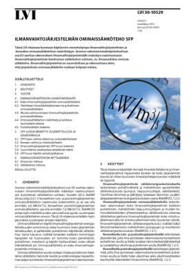 LVI 30-10529, Ilmanvaihtojärjestelmän ominaissähköteho SFP
