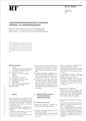 RT 92-10478, Ilmastointikonehuoneiden tilantarve toimisto- ja liikerakennuksissa