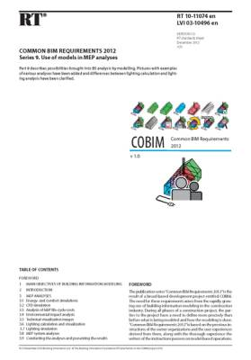 RT 10-11074 en, Common BIM Requirements 2012. Series 9. Use of models in MEP analyses (Version 1.0, 2012)