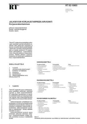 RT 82-10603, Julkisivun korjaustarpeen arviointi. Korjausrakentaminen