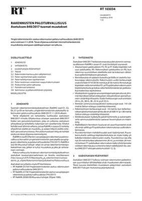 RT 103034, Rakennusten paloturvallisuus. Asetuksen 848/2017 tuomat muutokset