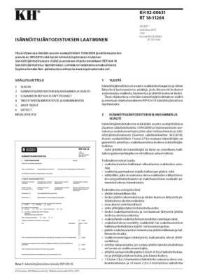 RT 18-11264, Isännöitsijäntodistuksen laatiminen