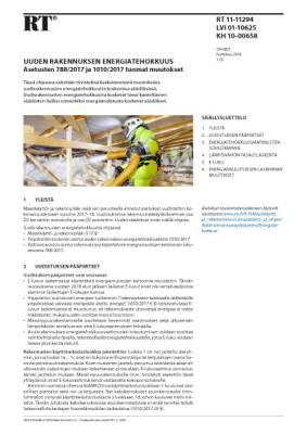 RT 11-11294, Uuden rakennuksen energiatehokkuus. Asetusten 788/2017 ja 1010/2017 tuomat muutokset