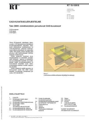 RT 15-10919, CAD-kuvatasojärjestelmä. Talo 2000 -nimikkeistöön perustuvat CAD-kuvatasot