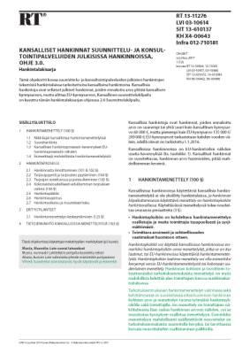 RT 13-11276, Kansalliset hankinnat suunnittelu- ja konsultointipalveluiden julkisissa hankinnoissa, ohje 3.0. Hankintalakisarja