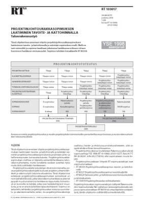 RT 103017, Projektinjohtourakkasopimuksen laatiminen tavoite- ja kattohinnalla. Talonrakennustyö