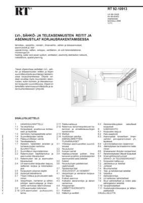 RT 92-10913, LVI-, sähkö- ja teleasennusten reitit ja asennustilat korjausrakentamisessa