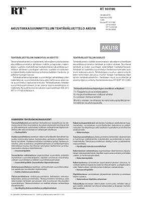 RT 103190, Akustiikkasuunnittelun tehtäväluettelo AKU18