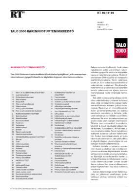 RT 10-11114, Talo 2000 Rakennustuotenimikkeistö