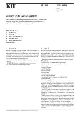 KH 34-00590, Akkujen hoito ja kunnossapito