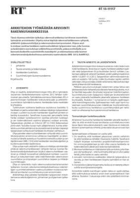 RT 13-11117, Arkkitehdin työmäärän arviointi rakennushankkeessa
