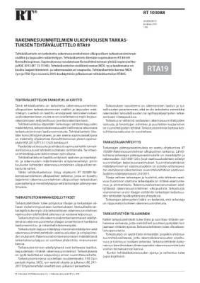 RT 103088, Rakennesuunnitelmien ulkopuolisen tarkastuksen tehtäväluettelo RTA19