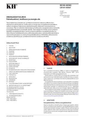 LVI 01-10567, Energiakatselmus. Palvelusektori, teollisuus ja energia-ala
