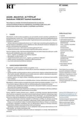 RT 103061, Asuin-, majoitus- ja työtilat. Asetuksen 1008/2017 tuomat muutokset