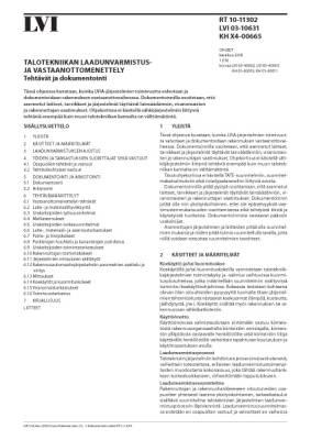RT 10-11302, Talotekniikan laadunvarmistus- ja vastaanottomenettely. Tehtävät ja dokumentointi