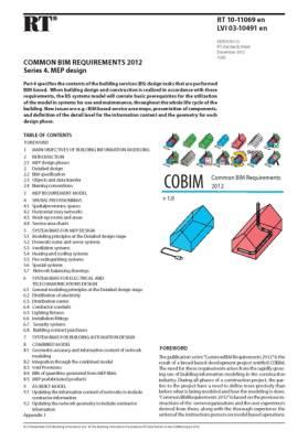 RT 10-11069 en, Common BIM Requirements 2012. Series 4. MEP design (Version 1.0, 2012)