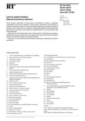 RT 18-11245, Haitta-ainetutkimus. Rakennustuotteet ja rakenteet