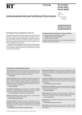 RT 10-11291, Elinkaariasiantuntijan tehtäväluettelo ELINK18