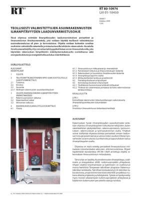 RT 80-10974, Teollisesti valmistettujen asuinrakennusten ilmanpitävyyden laadunvarmistusohje