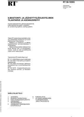 RT 56-10593, Ilmastointi- ja jäähdytysjärjestelmien tilantarve ja asennusreitit