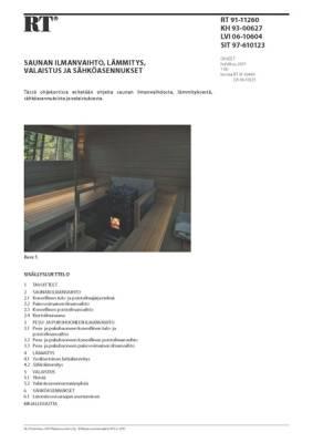 RT 91-11260, Saunan ilmanvaihto, lämmitys, valaistus ja sähköasennukset