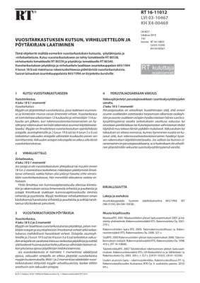 RT 16-11012, Vuositarkastuksen kutsun, virheluettelon ja pöytäkirjan laatiminen