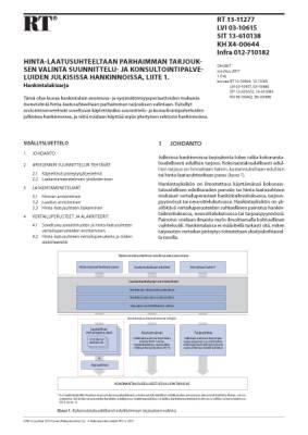 RT 13-11277, Hinta-laatusuhteeltaan parhaimman tarjouksen valinta suunnittelu- ja konsultointipalveluiden julkisissa hankinnoissa, liite 1. Hankintalakisarja