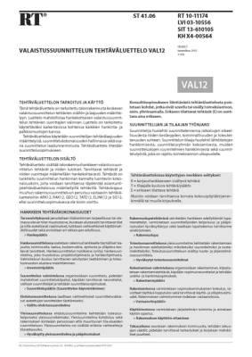 RT 10-11174, Valaistussuunnittelun tehtäväluettelo VAL12