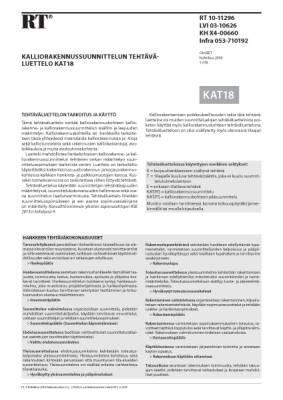RT 10-11296, Kalliorakennussuunnittelun tehtäväluettelo KAT18