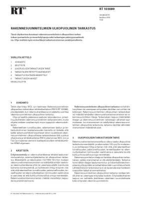 RT 103089, Rakennesuunnitelmien ulkopuolinen tarkastus