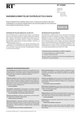 RT 103087, Rakennesuunnittelun tehtäväluettelo RAK18