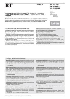 RT 10-11290, Taloteknisen suunnittelun tehtäväluettelo TATE18