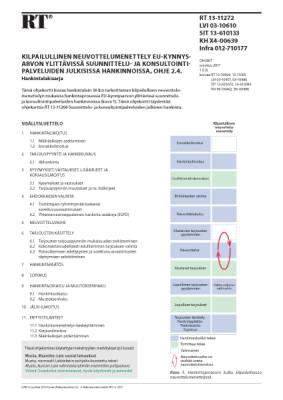 RT 13-11272, Kilpailullinen neuvottelumenettely EU-kynnysarvon ylittävissä suunnittelu- ja konsultointipalveluiden julkisissa hankinnoissa, ohje 2.4. Hankintalakisarja
