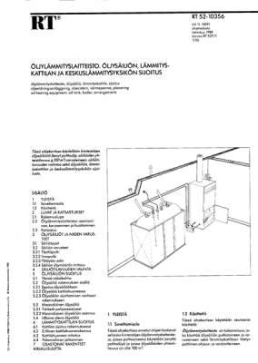 RT 52-10356, Öljylämmityslaitteisto. Öljysäiliön, lämmityskattilan ja keskuslämmitysyksikön sijoitus