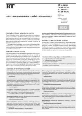 RT 10-11192, Sisustussuunnittelun tehtäväluettelo SIS12