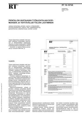 RT 16-10748, Pientalon vastaavan työnjohtajan sopimuksen ja tehtäväluettelon laatiminen