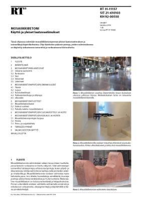 RT 31-11157, Mosaiikkibetoni. Käyttö ja yleiset laatuvaatimukset