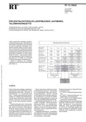 RT 13-10845, Projektinjohtopalvelusopimuksen laatiminen, talonrakennustyö