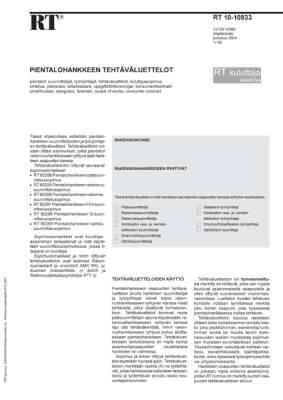 RT 10-10833, Pientalohankkeen tehtäväluettelot