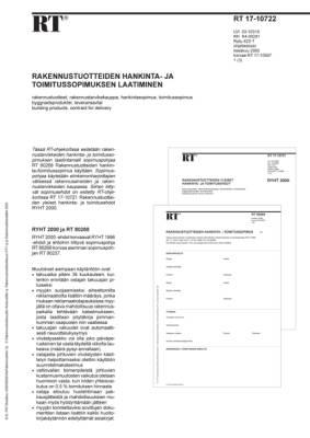 RT 17-10722, Rakennustuotteiden hankinta- ja toimitussopimuksen laatiminen