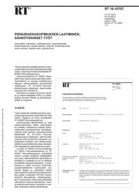 RT 16-10707, Pienurakkasopimuksen laatiminen, sähkötekniset työt