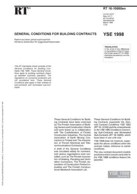 RT 16-10660 en, General conditions for building contracts. YSE 1998 document