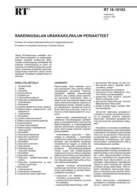 RT 16-10182, Rakennusalan urakkakilpailun periaatteet