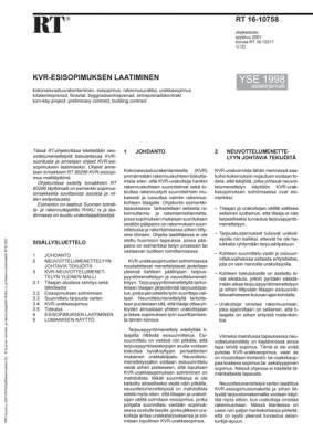 RT 16-10758, KVR-esisopimuksen laatiminen. (YSE 1998 asiakirjamalli)