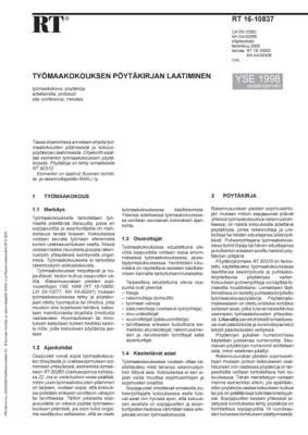 RT 16-10837, Työmaakokouksen pöytäkirjan laatiminen