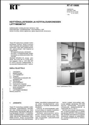 RT 47-10680, Keittiökalusteiden ja kotitalouskoneiden liittymismitat