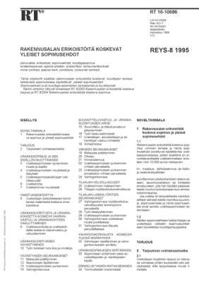 RT 16-10686, Rakennusalan erikoistöitä koskevat yleiset kuluttajasopimusehdot REYS-8 1995